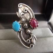 Bague en argent 925  T. 60 avec Turquoise et Rubis Vintage