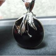 Joli Pendentif Argent 925 avec Onyx