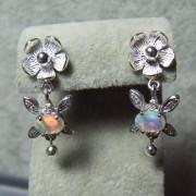 Belles Boucles d'Oreilles en Argent 925 avec Opale d'Ethiopie