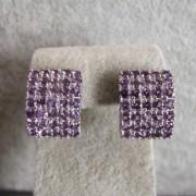 Boucles d'oreilles en Argent 925 plaqué Or blanc avec Améthyste