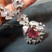 Parure collier et bracelet en Argent 925 avec Rubis Améthyste - Style Joaillerie