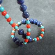 Collier en Argent 925 avec Lapis, Turquoise et Corail