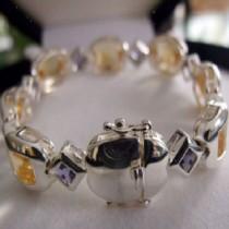 Bracelet Argent 925 serti Citrine et Iolite