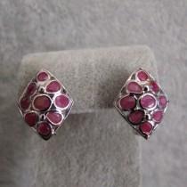 Jolies Boucles d'oreilles en Argent 925 avec Rubis
