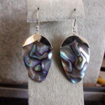 Belles Boucles d'oreilles en Argent 925 avec Nacre Abalone