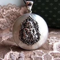 Magnifique Pendentif Argent 925 Nacre avec Bouddha