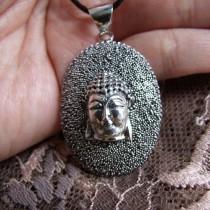 Magnifique Pendentif Argent 925 avec Visage du Bouddha