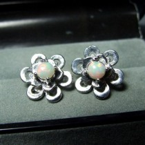 Jolis Clous d'Oreilles argent 925 Opale d'Ethiopie