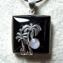 Original Pendentif Argent 925 Onyx et Pierre de Lune