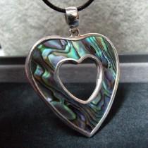 Joli Pendentif Double Coeur Argent 925 avec Nacre Abalone
