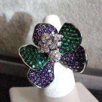 Belle Bague Orchidée en Argent plaqué Or Blanc T 62 Style joaillerie