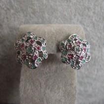 Belles Boucles d'oreilles en Argent 925 plaqué Or blanc avec Emeraude et Rubis