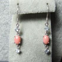 Jolies petites Boucles d'Oreilles en Argent 925 avec Corail Rose