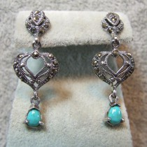 Jolies Boucles D'oreilles en Argent 925 avec Turquoise  Marcassite - Style Rétro