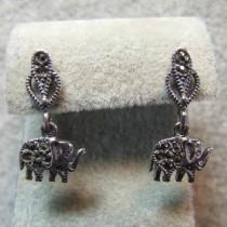 Boucles d'oreilles éléphants en Argent 925 avec Marcassite