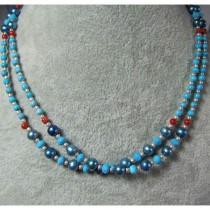Collier en Argent 925 avec Turquoise, Corail et Perle - 2 rangs